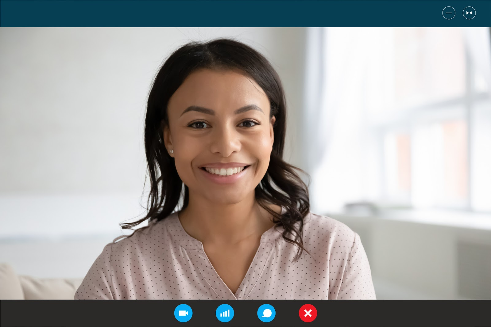 Headshot portrait screen application view of happy African American young woman speak talk on video call on computer, smiling biracial female have pleasant Webcam conference online on laptop